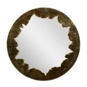 36 in. x 36 in. Gold Aluminum Contemporary Framed Wall Mirror