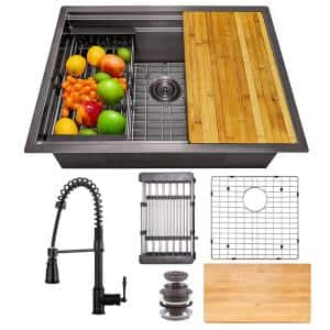 All-in-One Matte Black Finished Stainless Steel 25 in. x 22 in. Undermount Kitchen Sink with Spring Neck Faucet