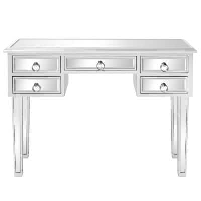 Sliver Console Mirrored Vanity Table with 5-Drawer (31 in. H x 41 in. W x 15 in. D)