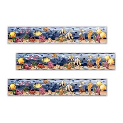 Mundo Marino 3 in. x 18 in. Blue Multicolor Ceramic Decorative Listello Wall Tile (3-Pack)