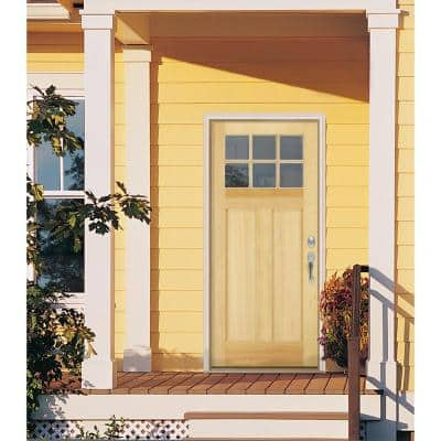 36 in. x 80 in. Craftsman 6-Lite Unfinished Fir Prehung Front Door with Unfinished AuraLast Jamb and Brickmould