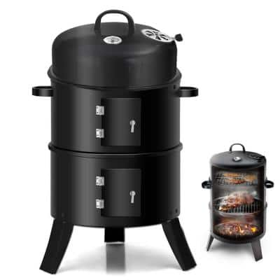 3-in-1 Charcoal Vertical Smoker Grill BBQ Roaster Steel Barbecue Cooker Outdoor