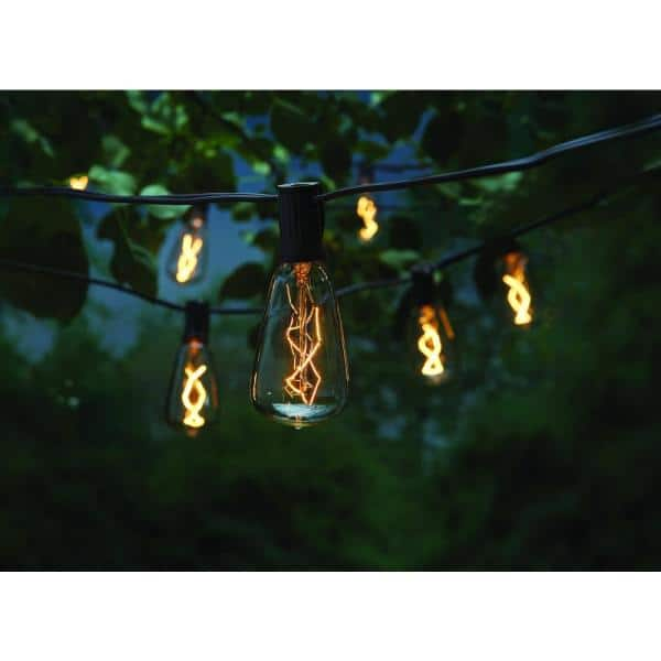 Hampton Bay Outdoor Indoor 10 Ft Light Line Voltage St40 Vintage Bulb Incandescent String Light 10 Heads Nxt 2322 The Home Depot