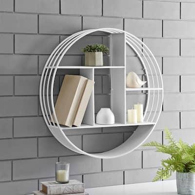 27.5 x 6 x 27.5 in. Round Metal White Brody Industrial Circular Shelf