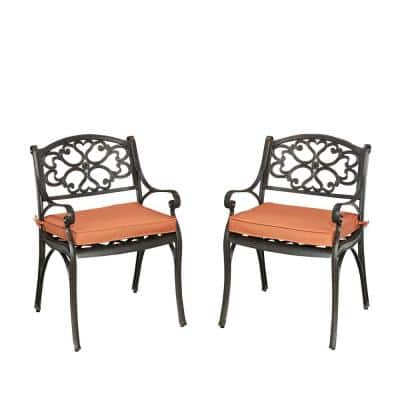 Sanibel Rust Bronze Stationary Cast Aluminum Outdoor Dining Arm Chair with Coral Cushion (2-Pack)