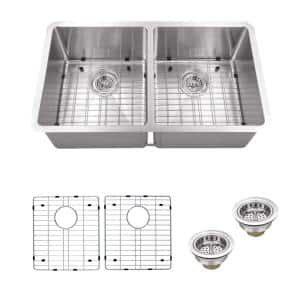 Undermount 16-Gauge Stainless Steel 32 in. 0-Hole 50/50 Double Bowl Kitchen Sink with Grid Set and Drain Assemblies
