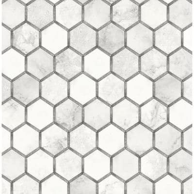 Faux Carrara and Metallic Silver Inlay Hexagon Geometric 20.5 in. x 18 ft. Peel and Stick Wallpaper