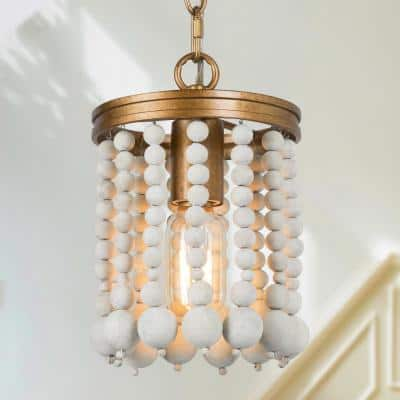 Anmie 1-Light White Wood Beaded Chandelier with Adjustable Brush Gold Matte Chain