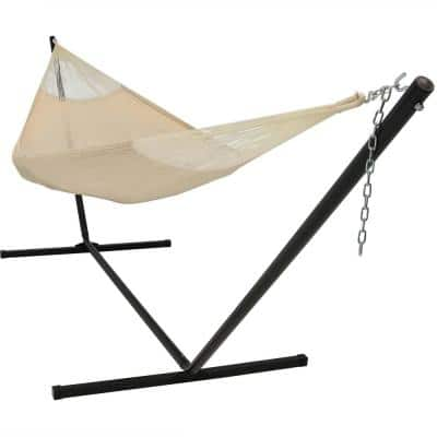 13 ft. 2-Person Hand-Woven Mayan Hammock Bed with 15 ft. Stand in Natural