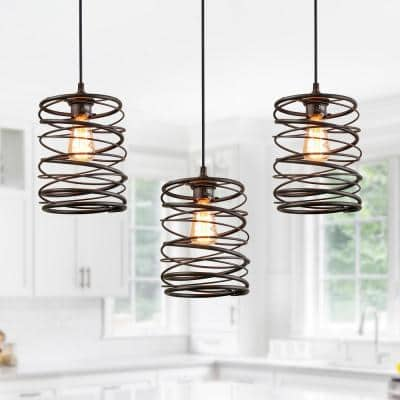 Pendant Lighting 1-Light 8 in. Rusty Bronze Mini Pendant with Spiral Iron Lantern Cage Rustic Ceiling Pendant Light