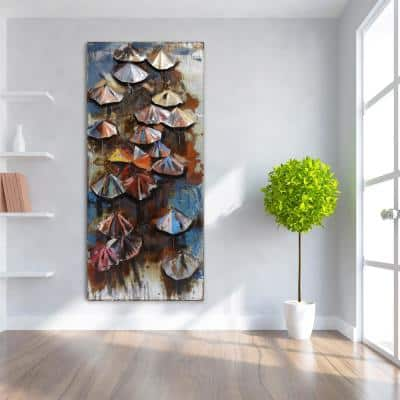 """80 in. x 36 in. """"Umbrellas"""" Mixed Media Iron Hand Painted Dimensional Wall Art"""