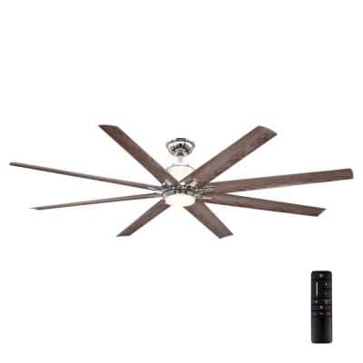 Kensgrove 72 in. Integrated LED Indoor/Outdoor Polished Nickel Ceiling Fan with Light and Remote Control