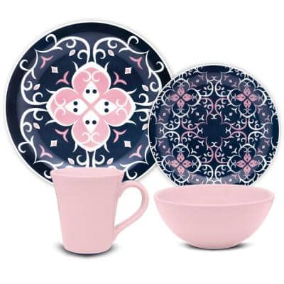 Floreal Blue and Pink 16-Piece Casual Blue and Pink Earthenware Dinnerware Set (Service for 4)