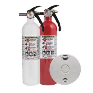 10-Year Worry-Free Home Fire Safety Kit, 2-Pack Smoke/CO Detector with Photoelectric Sensor and 2-Pack Fire Extinguisher