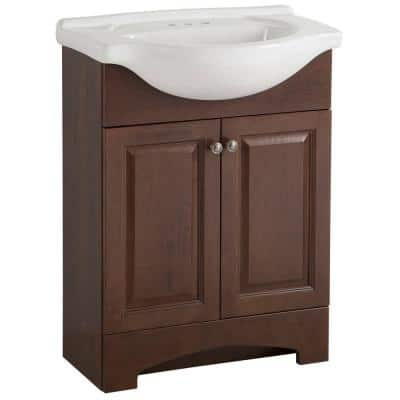 Chelsea 26 in. W x 36 in H x 18 in. D Bathroom Vanity in Cognac with Porcelain Vanity Top in White with White Sink
