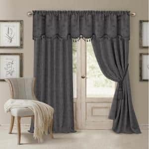 Gray Jacquard Blackout Curtain - 52 in. W x 95 in. L