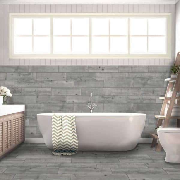 Florida Tile Home Collection Timber Grey 6 In X 24 In Porcelain Floor And Wall Tile 14 Sq Ft Case Chdedst106x24 The Home Depot