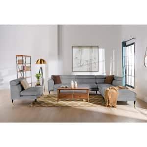 Bartelt 4-Piece Platinum Gray Velvet U-Shaped Right-Facing Modular Sectional Sofa with Ottoman