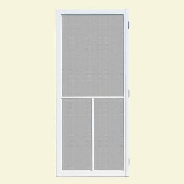 Unique Home Designs 36 In X 80 In Hampton White Outswing Vinyl Hinged Screen Door Ishv600036wht The Home Depot