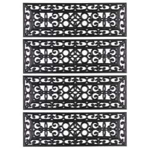 Decorative Scrollwork Design Rubber Stairs Anti-Slip Tread Mat Carpet, Set of 4