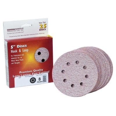 Premium Plus 5 in. 8-Hole 800-Grit Stearated Aluminum Oxide Hook And Loop Sanding Discs (25 per Box)