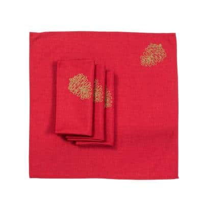 0.1 in. H x 20 in. W x 20 in. D Christmas Pine Tree Branches Embroidered Napkins (Set of 4)