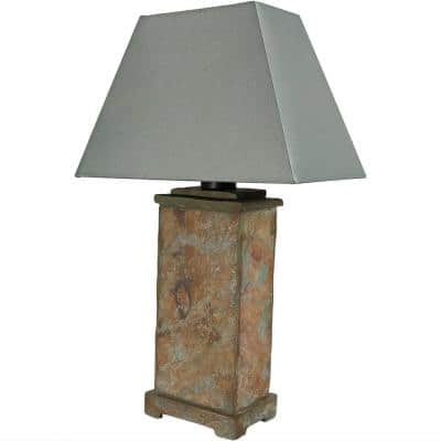 24 in. Decorative Natural Brown Indoor Outdoor Slate Table Lamp