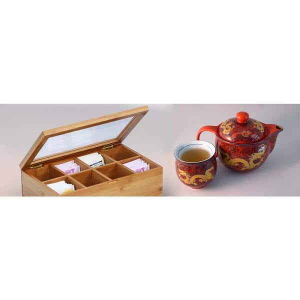 Oceanstar 8 Compartment Bamboo Tea Box With Hinged Lid Tb1323 The Home Depot