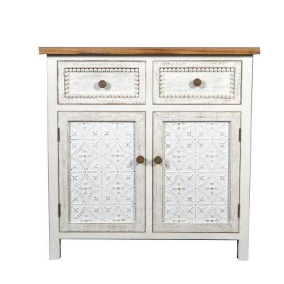 White Wood & Metal Buffet Console Cabinet