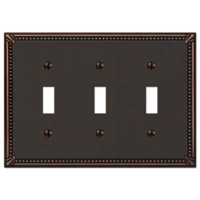 Imperial Bead 3 Gang Toggle Metal Wall Plate - Aged Bronze