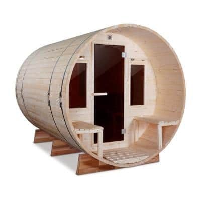 6 Person Outdoor White Pine Barrel Steam Electric Sauna - Front Porch Canopy - ETL Certified