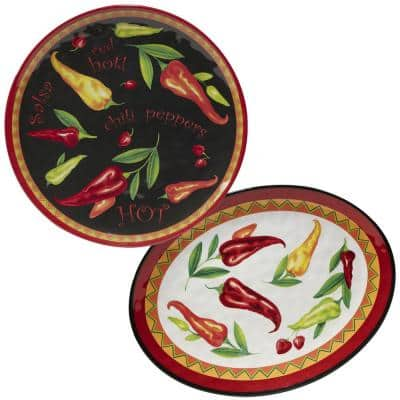 Red Hot 2-Piece 14 in. Round and 18 in. Oval Multicolored Melamine Platter Set