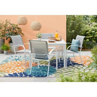 Mix and Match White Stackable Sling Outdoor Dining Chair in Wet Cement (2-Pack)