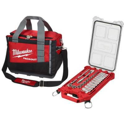 3/8 in. Drive SAE Ratchet and Socket Mechanics Tool Set with PACKOUT Case and Bag (28-Piece)