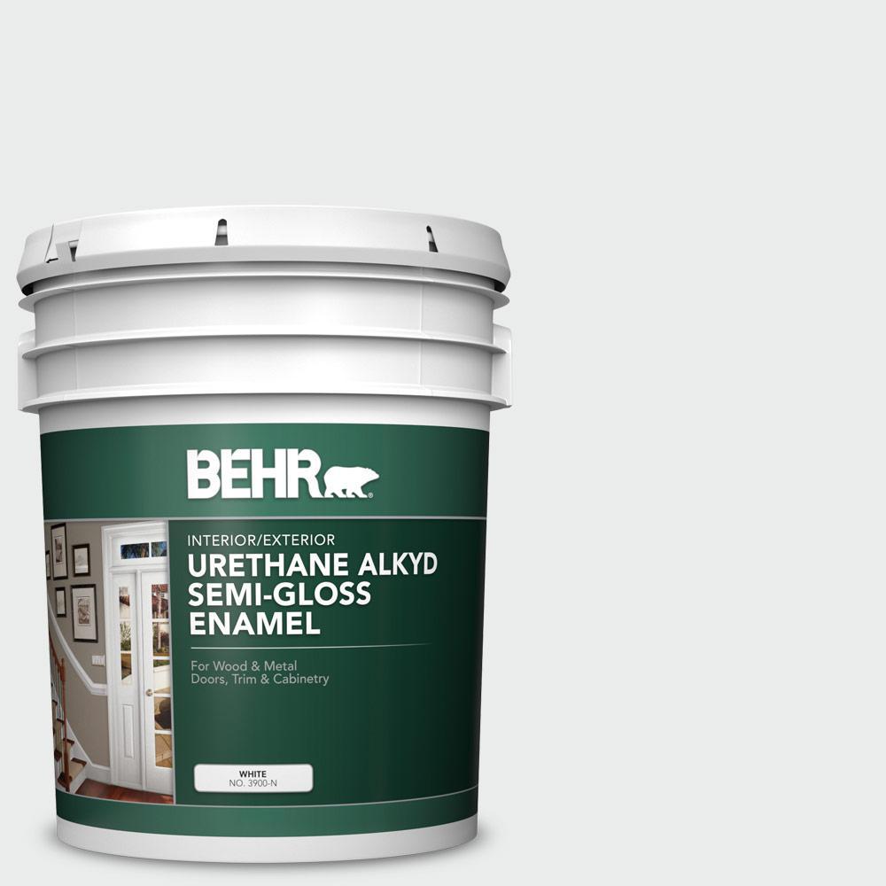5 gal. #BWC-12 Vibrant White Urethane Alkyd Semi-Gloss Enamel Interior/Exterior Paint