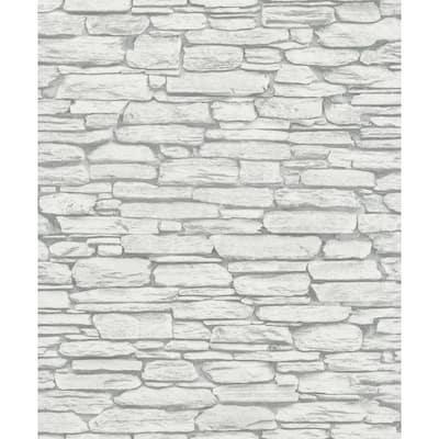 Kamen Light Grey Stone Paper Strippable Wallpaper (Covers 56.4 sq. ft.)