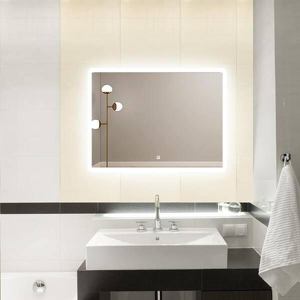 Pexfix 32 In X 24 Modern Rectangle, Home Depot Bathroom Mirror Led