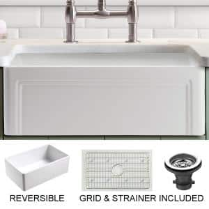 Olde London Farmhouse Fireclay 30 in. Single Bowl Kitchen Sink with Grid with Grid and Strainer