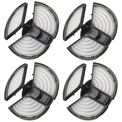Spin Light 10 in. High Output 4000 Lumens Black LED Flush Mount Ceiling Light with 3 Adjustable Heads 5000K (4-Pack)