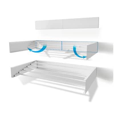 40 in. Indoor/Outdoor White Retractable Wall Mount Drying Rack