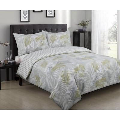 Palms 3-Piece Multicolor Cotton Duvet Full/Queen Cover Set