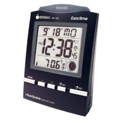 Radio Control Desk Alarm Clock in Black with Month/Day/Date/Moon Phase