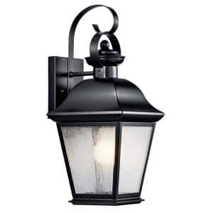 Mount Vernon 16.75 in. 1-Light Black Outdoor Wall Mount Sconce with Clear Seeded Glass
