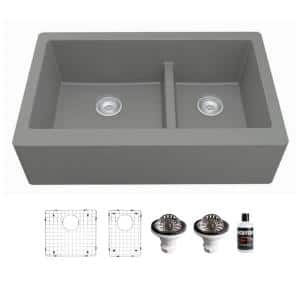 QA-760 Quartz/Granite 34 in. Double Bowl 60/40 Farmhouse/Apron Front Kitchen Sink in Grey with Grid and Strainer