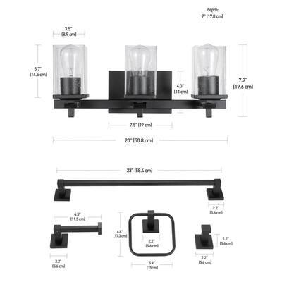 Dakota 20 in. 3-Light Matte Black Vanity Light with Accessories