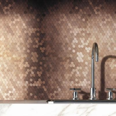 Take Home Sample Hexagonia DC Dark Copper 4 in x 4 in Metal Peel and Stick Wall Mosaic Tile (0.11 sq.ft/Each)