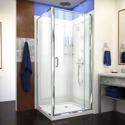 Flex 32 in. x 32 in. x 76.75 in. Framed Corner Pivot Shower Kit in Chrome with Shower Base in White