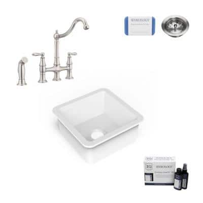 Amplify Undermount Fireclay 18.1 in. Single Bowl Bar Prep Sink with Pfister Bridge Faucet in Stainless
