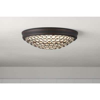 Crystal 13 in. Oil Rubbed Bronze LED Flush Mount