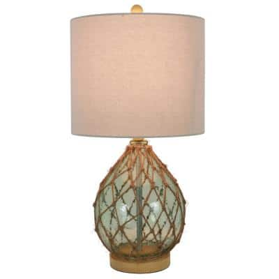 Rayna 23 in. Spa Blue Indoor Table Lamp with Rope Accents